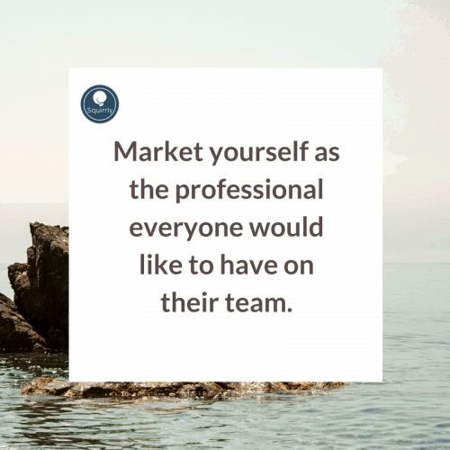 Market yourself as the professional everyone would like to have on their team.